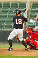 Eric Grabe (18) of the Kannapolis Intimidators at bat against the Lakewood BlueClaws at CMC-Northeast Stadium on August 13, 2013 in Kannapolis, North Carolina.  The Intimidators defeated the BlueClaws 12-8.  (Brian Westerholt/Four Seam Images)