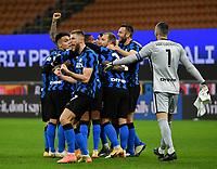 Football Soccer: Tim Cup Quarter Finals InternazionaleMIlan vs Milan, Giuseppe Meazza Stadium (San Siro) Milan, on January 26, 2021.<br /> Inter's players celebrates after winning 2-1 the Italian Tim Cup  football match between Inter and Milan at the Giuseppe Meazza stadium in Milan, January 26, 2021.<br /> UPDATE IMAGES PRESS/Isabella Bonotto