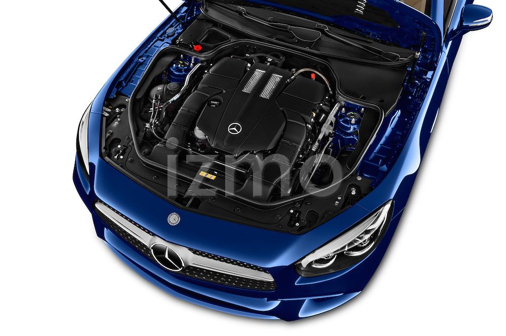 Car Stock 2017 Mercedes Benz SL-Class SL450 2 Door Convertible Engine  high angle detail view