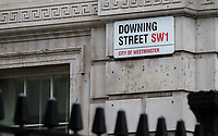 Downing Street Road sign - BREXIT scenes in Westminster Houses of Parliament and surrounding area, London, England on 16 January 2019. Photo by Andy Rowland.