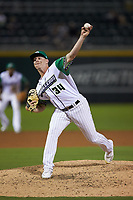 Caballeros de Charlotte relief pitcher Hunter Schryver (34) in action against the Buffalo Bisons at BB&T BallPark on July 23, 2019 in Charlotte, North Carolina. The Bisons defeated the Caballeros 8-1. (Brian Westerholt/Four Seam Images)