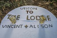 Africa, Botswana, Khwai, The Lodge, Feline Fields, edge of the Kalahari desert. Welcome sign.