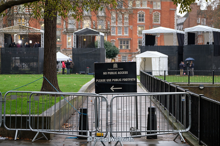 Temporary outdoor media studios on College Green, opposite the Houses of Parliament as MPs debate the government's Brexit deal, Westminster, London.