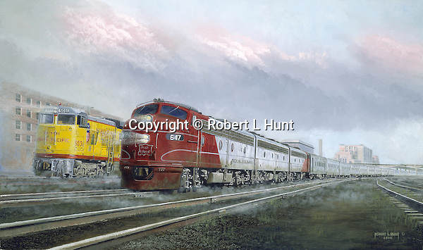 """The Rock Island Railroad diesel passenger train """"Omaha Rocket"""" side by side with a Union Pacific train in Omaha, Nebraska, circa 1958. Oil on canvas, 18"""" x 30""""."""