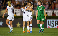 PASADENA, CALIFORNIA - August 03: Kelley O'Hara #5 and Carli Loyd #10 celebrateKelley O'Hara #5 during their international friendly and the USWNT Victory Tour match between Ireland and the United States at the Rose Bowl on August 03, 2019 in Pasadena, CA.
