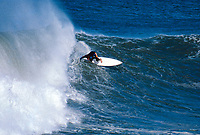 Tom Curren (USA) surfing Mundaka river-mouth during an epic swell in November 1989. Mundaka, Basque Country, Spain. Photo: joliphotos.com