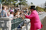 April 13, 2014: Keeneland bugler, Steve Buttleman interacts with the crowd at Keeneland Racecourse.  Candice Chavez/ESW/CSM