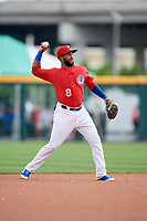 Buffalo Bisons shortstop Richard Urena (8) throws to first base during a game against the Lehigh Valley IronPigs on June 23, 2018 at Coca-Cola Field in Buffalo, New York.  Lehigh Valley defeated Buffalo 4-1.  (Mike Janes/Four Seam Images)