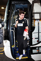 Photo: Richard Lane/Richard Lane Photography. London Wasps depart for Abu Dhabi for their LV= Cup game against Harlequins on 30st January 2011. 25/01/2011. London Wasps' Mark Atkinson departs for Abu Dhabi at Heathrow airport.
