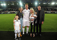 Alan Tate with his family during the Swansea Legends v Manchester United Legends at The Liberty Stadium, Swansea, Wales, UK. Wednesday 09 August 2017