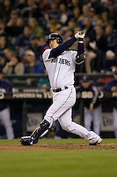September 24, 2008: Seattle Mariners' Kenji Johjima at-bat during a game against the Los Angeles Angels of Anaheim at Safeco Field in Seattle, Washington..