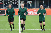20160405  - Eibergen , NETHERLANDS : Referee Julia-Stefanie Baier (M) with assistant referees Sara Telek (R) and Franca Overtoom (L) pictured during the soccer match between the women under 19 teams of Finland and Belarus , on the first matchday in group 3 of the UEFA Women Under19 Elite rounds in Eibergen , Netherlands. Tuesday 5 th April 2016 . PHOTO DIRK VUYLSTEKE / Sportpix.be
