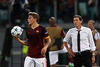 Calcio, Champions League, Gruppo E: Roma vs Barcellona. Roma, stadio Olimpico, 16 settembre 2015.<br /> Roma's Lucas Digne, left, holds the ball past coach Rudi Garcia during a Champions League, Group E football match between Roma and FC Barcelona, at Rome's Olympic stadium, 16 September 2015.<br /> UPDATE IMAGES PRESS/Riccardo De Luca<br /> <br /> *** ITALY AND GERMANY OUT ***