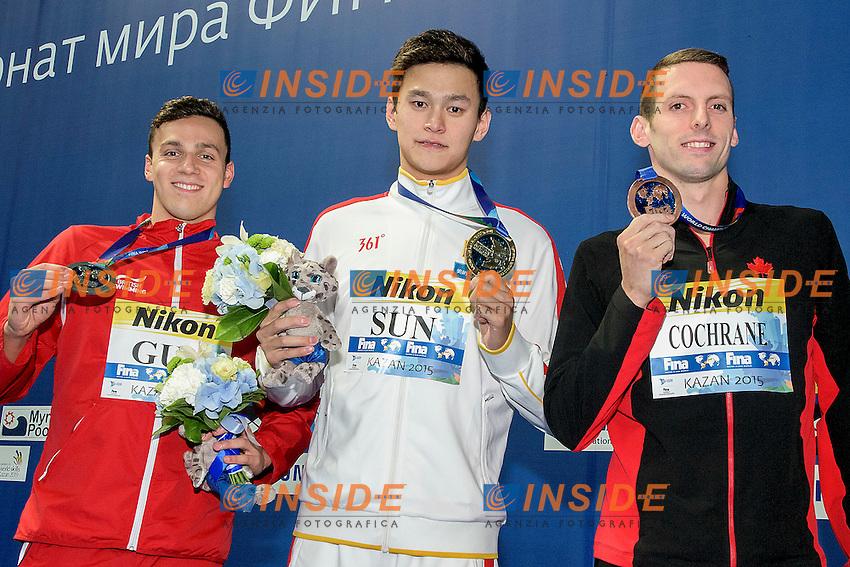 Podium <br /> YANG Sun CHN Gold Medal<br /> GUY James GBR Silver Medal<br /> COCHRANE Ryan CAN Bronze Medal<br /> 400 Freestyle Men Final <br /> Swimming Kazan Arena<br /> Day10 02/08/2015<br /> XVI FINA World Championships Aquatics Swimming<br /> Kazan Tatarstan RUS July 24 - Aug. 9 2015 <br /> Photo G.Scala/Deepbluemedia/Insidefoto