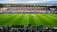 Players and Match officials applaud prior to kick off for the late Gordon Banks during the FA Cup Fifth Round match between Swansea City and Brentford at the Liberty Stadium in Swansea, Wales, UK. Sunday 17 February 2019
