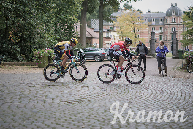 Jelle Wallays (BEL/Lotto-Soudal) & Mike Teunissen (NED/LottoNL-Jumbo) trying to stay up front<br /> <br /> 83rd Nationale Sluitingsprijs Putte-Kapellen 2016 (UCI Europe Tour cat 1.1 / 189km)