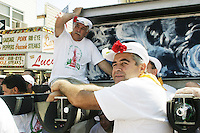 """The lifters (or """"Paranza"""") at the annual Feast of Our Lady of Mount Carmel and the Dancing of the Giglio in Brooklyn, NY, on July 11, 2004."""