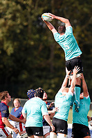 Daniel Qualter of Nottingham Rugby receives the line out during the Championship Cup match between London Scottish Football Club and Nottingham Rugby at Richmond Athletic Ground, Richmond, United Kingdom on 28 September 2019. Photo by Carlton Myrie / PRiME Media Images