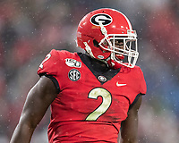 ATHENS, GA - OCTOBER 19: Richard LeCounte #2 of the Georgia Bulldogs celebrates a tackle during a game between University of Kentucky Wildcats and University of Georgia Bulldogs at Sanford Stadium on October 19, 2019 in Athens, Georgia.