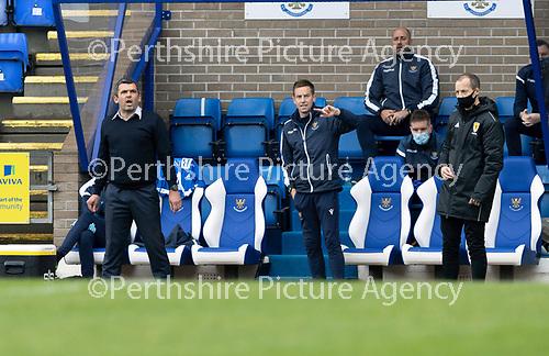 St Johnstone v Celtic…04.10.20   McDiarmid Park  SPFL<br />Saints boss Callum Davidson and coiach Steven MacLean shout istructions<br />Picture by Graeme Hart.<br />Copyright Perthshire Picture Agency<br />Tel: 01738 623350  Mobile: 07990 594431