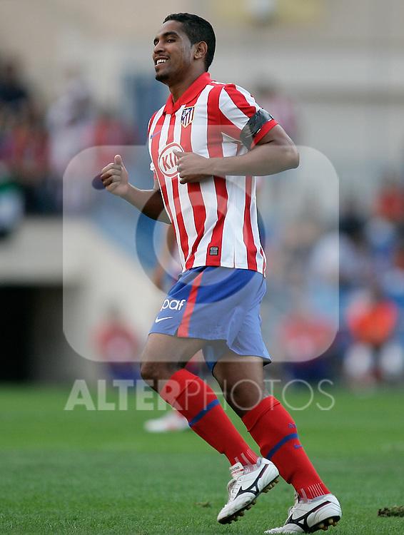 Atletico de Madrid's Cleber Santana reacts during La Liga match. September 12, 2009. (ALTERPHOTOS/Alvaro Hernandez)