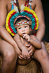 Pataxó-Hahahai Indian baby in traditional attire, Bahia, Brazil
