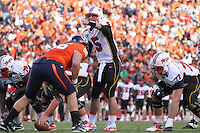 Nov 13, 2010; Charlottesville, VA, USA;  Maryland Terrapins quarterback Danny O'Brien (5) calls a play during the 1st half of the game against the Virginia Cavaliers at Scott Stadium.  Mandatory Credit: Andrew Shurtleff-