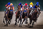 August  02 2014: Downton My Lady battles with Tiz Midnight with Victor Espinoza (red cap) and Tappingintherain with Mike Smith up race in an allowance race at Del Mar Race Track in Del Mar CA. Alex Evers/ESW/CSM