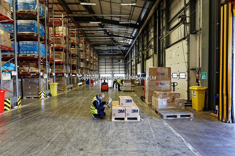 Pictured: Workers inside the warehouse. Wednesday 02 October 2019<br /> Re: An NHS Wales Warehouse in south east Wales is storing extra medical devices and consumables to ensure health and social services continue to run smoothly in the event of a no-deal Brexit.