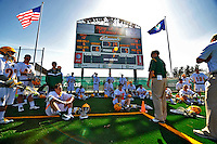 17 March 2012: The University of Vermont Catamount Men's Lacrosse Team listen to the coaching staff during the halftime break against the Sacred Heart University Pioneers at Virtue Field in Burlington, Vermont. The Catamounts defeated the visiting Pioneers 12-11 with only 10 seconds remaining in their non-conference matchup. Mandatory Credit: Ed Wolfstein Photo