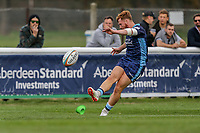 Rory Jennings of London Scottish attempts a conversion during the Greene King IPA Championship match between London Scottish Football Club and Ealing Trailfinders at Richmond Athletic Ground, Richmond, United Kingdom on 8 September 2018. Photo by David Horn.