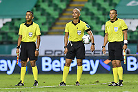 PALMIRA – COLOMBIA, 21-03-2021: Jonathan Paniagua, arbitro asistente 2, Diego Escalante, arbitro central, Wilmar Navarro, arbitro asistente 1, previo al partido entre Deportivo Cali y Deportes Tolima por la fecha 13 como parte de la Liga BetPlay DIMAYOR 2021 jugado en el estadio Deportivo Cali de la ciudad de Palmira. / Jonathan Paniagua, assistant referee 2, Diego Escalante, central referee, Wilmar Navarro, assistant referee 1, prior a match between Deportivo Cali and Deportes Tolima for the date 13 as part of BetPlay DIMAYOR League 2021 played at the Deportivo Cali stadium in Palmira city. Photos: VizzorImage / Nelson Ríos / Cont.