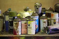 Pictured: Spray cans in the artist's studio Friday 02 December 2016<br /> The Sidney Nolan Trust, Rodd, Herefordshire, England, UK