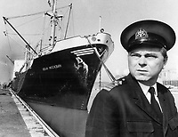 The Russians have landed in Toronto. The first deep-water ship to enter Toronto Harbor this year is the Soviet freighter Ivan Moskvin; docked today at the foot of Parliament St. by Captain Alexander Mazurkin. The 395-foot ship brough 4;935 tons of structral steel from Gdansk; Poland; the ship and her crew of 41 wil be in port until Friday. For being first; Mazurkin will be given a dispatch case and the ship will recieve an engraved barometer.<br /> <br /> Photo : Boris Spremo - Toronto Star archives - AQP