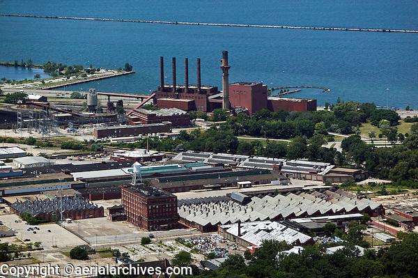 aerial view above Cleveland Electric Illuminating Company Lake Erie waterfront power plant