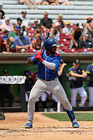 South Bend Cubs designated hitter Nelson Velazquez (24) at bat during a game against the Wisconsin Timber Rattlers on July 21, 2021 at Neuroscience Group Field at Fox Cities Stadium in Grand Chute, Wisconsin.  (Brad Krause/Four Seam Images)