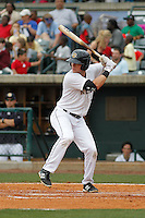Charleston RiverDogs outfielder Austin Aune (22) at bat during a game against the Augusta GreenJackets at Joseph P.Riley Jr. Ballpark on April 15, 2015 in Charleston, South Carolina. Charleston defeated Augusta 8-0. (Robert Gurganus/Four Seam Images)