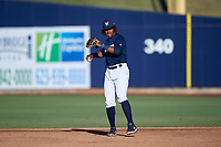 AZL Brewers Blue second baseman Orveo Saint (30) during an Arizona League game against the AZL Athletics Gold on July 2, 2019 at American Family Fields of Phoenix in Phoenix, Arizona. AZL Athletics Gold defeated the AZL Brewers Blue 11-8. (Zachary Lucy/Four Seam Images)