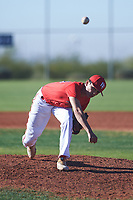 Joshua Lizarraga (44), from Moreno Valley, California, while playing for the Cardinals during the Under Armour Baseball Factory Recruiting Classic at Red Mountain Baseball Complex on December 28, 2017 in Mesa, Arizona. (Zachary Lucy/Four Seam Images)