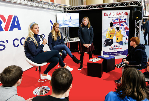 Dun Laoghaire's Saskia Tidey (left) speaking at the RYA Dinghy Show