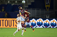 CARSON, CA - SEPTEMBER 19: Jack Price #19 of the Colorado Rapids leaps high for a ball during a game between Colorado Rapids and Los Angeles Galaxy at Dignity Heath Sports Park on September 19, 2020 in Carson, California.