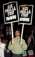FILE PHOTO - Parti Quebecois members and people against the NO in the 1992 Federal referendum gather at Arena Maurice-Richard, October 23, 1992<br /> <br /> Photo : Pierre Roussel - Agence Quebec Presse