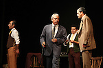 Actor Alejandro Aldama, (L-R), Raul Breton, Tizoc Torrescano and Sergio Lopez perform the play An Enemy of the People by Henrik Ibsen at the Teatto El Galeon, July 28, 2008.  The play is directed by Raquel Seoane. The theater company Contigo... America started its work on 1981 in Mexico. Photo by Heriberto Rodriguez