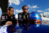 Sept 8, 2012; Clermont, IN, USA: NHRA pro stock driver Jason Line (right) with teammate Greg Anderson during qualifying for the US Nationals at Lucas Oil Raceway. Mandatory Credit: Mark J. Rebilas-