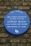 Leopold Bloom Blue plaque. Dublin. Bloomsday James Joyce Ulysses Ireland