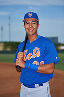 GCL Mets shortstop Mark Vientos (15) poses for a photo before a game against the GCL Cardinals on July 23, 2017 at Roger Dean Stadium Complex in Jupiter, Florida.  GCL Cardinals defeated the GCL Mets 5-3.  (Mike Janes/Four Seam Images)