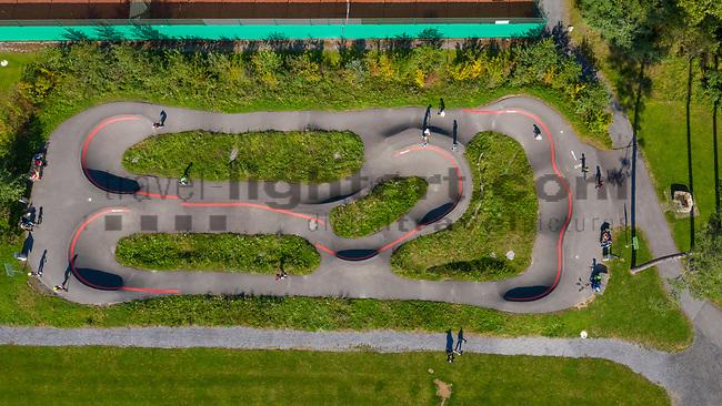 Drohnenaufnahme: Liechtenstein.<br /> Ruggell, Pumptrackanlage.<br /> Foto: ©Paul J. Trummer