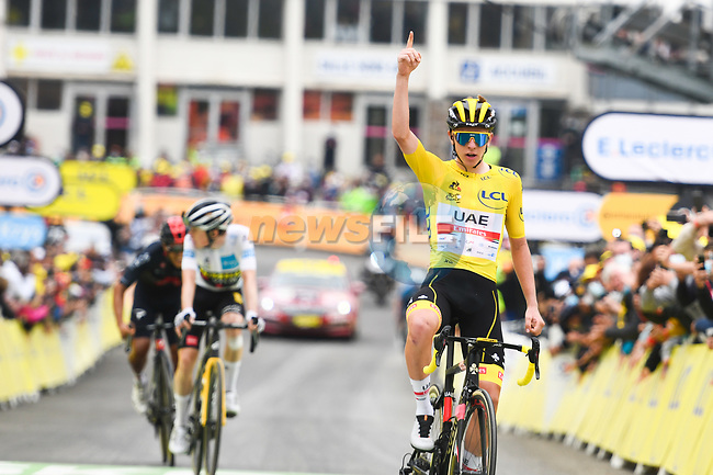 Yellow Jersey Tadej Pogacar (SLO) UAE Team Emirates wins  Stage 18 of the 2021 Tour de France, running 129.7km from Pau to Luz Ardiden, France. 15th July 2021.  <br /> Picture: A.S.O./Charly Lopez | Cyclefile<br /> <br /> All photos usage must carry mandatory copyright credit (© Cyclefile | A.S.O./Charly Lopez)