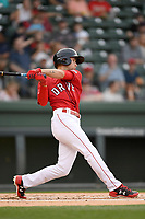Center fielder Cole Brannen (5) of the Greenville Drive bats in a game against the Rome Braves on Saturday, April 14, 2018, at Fluor Field at the West End in Greenville, South Carolina. Rome won, 4-0. (Tom Priddy/Four Seam Images)