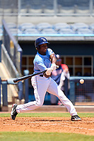 FCL Rays outfielder Yonathan Pierre (90) bats during a game against the FCL Twins on July 20, 2021 at Charlotte Sports Park in Port Charlotte, Florida.  (Mike Janes/Four Seam Images)